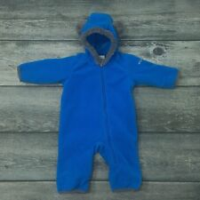 COLUMBIA 3-6 months Fleece Bunting Infant Boys Bear Ears Blue
