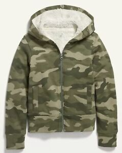 Old Navy Boy's ~ Cozy Sherpa-Lined Zip Hoodie ~ Size- XL (14-16) Green Camo