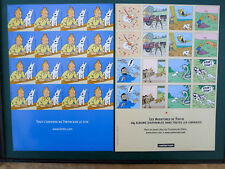 """HERGE Tintin """"timbres"""" publicitaires Casterman feuille 2004"""
