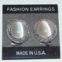 White cat's eye glass silver tone fashion unpierced clip earrings original card