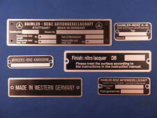 Mercedes Benz ID Tags '53-'60 Ponton, 190SL, 300SL for Export Models