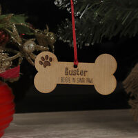 Personalised Christmas Tree Dog Bone Decoration Xmas Name Ornament, Bauble Gift