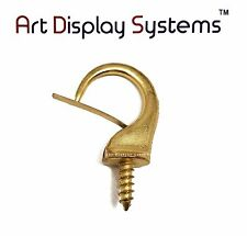 Art Display Systems Large Brass Security Cup Hook – Pro Quality – 15 Pack