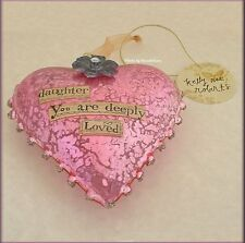 DAUGHTER GLASS HEART ORNAMENT BY KELLY RAE ROBERTS FREE U.S. SHIPPING