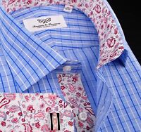 Mens Stylish Luxury Blue Dress Shirt Formal Business B2G GQ Paisley Boss Fashion