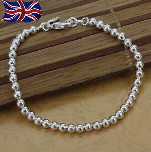 "925 Sterling Silver plated Bracelet Ball Bead 4mm Shiny 8""  Girls Gift UK"