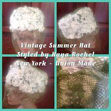 Vintage Summer Ladies Hat By Haya  Rochel New York White Flowers Veil Wedding