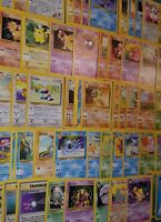 Original 151 Pokemon Cards LOT of 65 BASE-Neo ONLY! 1ST EDITIONS, Rares & HOLOS