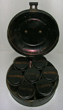 Antique 7 Tin Spice Canister Set with Stencils