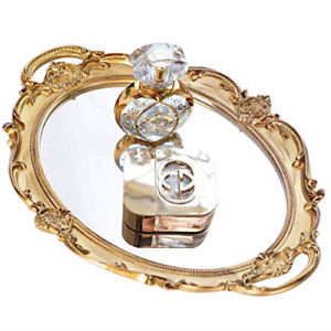 Mukily Mirrored Tray,Decorative Mirror for Perfume Organizer Jewelry Dresser & x