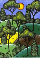 "Original CUSTOM Aceo Painting 2.5 x 3.5  ""NOT A PRINT"" Tree Art, Whimsical Art"