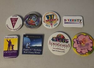 Vintage Lot of 8 Walt Disney World Button Pin Pin-Back 1990's New NOS Epcot