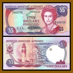 Bermuda 5 Dollars, 1989 P-35a (3 Digit Low Serial # 000705) QE II Unc