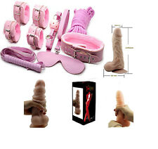 KIT SET 8 pz + DILDO SUPER REALISTICO ROSA VAGINALE ANALE TOY POLSINI COLLARE