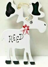 Christmas Wooden Reed The Reindeer Figures Holiday Ornament