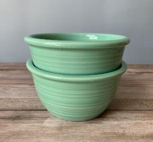 2 Crate & Barrel Farmhouse Bowls MINT GREEN RARE! Stoneware Cereal Soup set lot