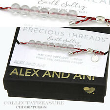 Authentic Alex and Ani Precious Threads Crystal Quartz Beads SterSilver Bracelet
