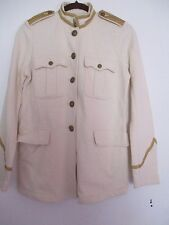 DENIM AND SUPPLY WOMEN MILLITARY BAND JACKET CREAM COLOR,GOLD DETAILS SIZE M