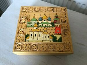wood Box with hand carved design RUSSIAN BUILDING PAINTED