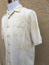 Awesome Men's Tommy Bahama Medium  Silk Beige Tropical  Shirt D71