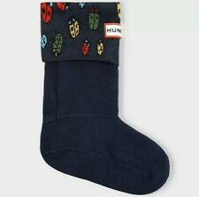 HUNTER Kids Youth size L 1-3 Winter Rain Boot Socks Blue Bugs Ladybird NIB