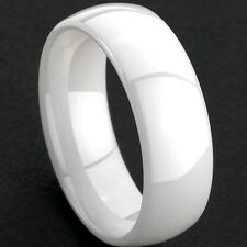 KERAMIK RING ELEGANT EDELSTAHL WEISS SCHLICHT GLANZ CERAMIC WHITE GR 16-21 R08
