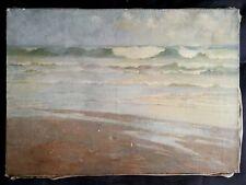 Ancien tableau,HST,marine,bord de mer,plage,océan,horizon,Arcachon,Début XXe