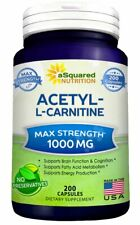 Pure Acetyl L-Carnitine 1000mg Max Strength - 200 Capsules - High Potency