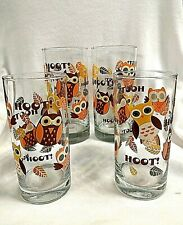 4 Vintage Hoot Owl Drinking Glasses, Tumblers 6 Inches Tall
