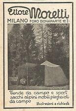Y2875 Tende da Campo ETTORE MORETTI - Pubblicità del 1923 - Old advertising