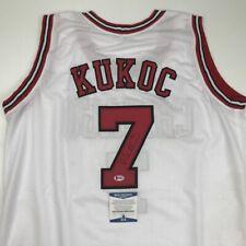Autographed/Signed TONI KUKOC Chicago White Basketball Jersey Beckett BAS COA