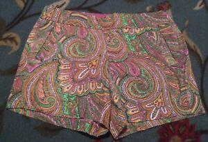 J Crew Womens Shorts Size 6 Paisley Multicolor Side Zip 100% Cotton Orange Pink