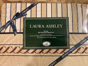 Sealed Vintage Laura Ashley Twin Flat Sheet stripe pattern for Grand Paisley