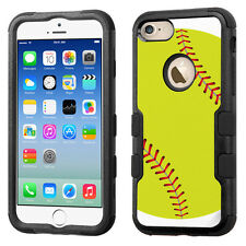 3-Layer Hybrid Tough Phone Case (Blk/Black) for Apple iPhone 7 - Softball