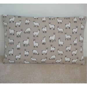 """24""""x16"""" Oblong Bolster Cushion Cover White Llamas Alpaca Alpacas 16x24 24x16"""