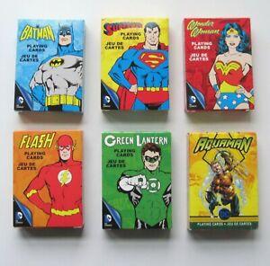 DC Comics Playing Cards Superman Batman Wonder Woman Aquaman Flash GL Lot of 6