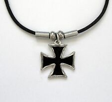 Iron Cross Eisernes Kreuz Biker EK Rocker Anhänger mit Kette  Amulett Schutz NEU