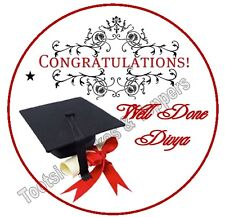 Personalised Congratulations/Graduation edible icing Round Cake Topper Pre-Cut