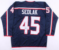 Lukas Sedlak Signed Columbus Blue Jackets Ice Hockey Jersey (Beckett COA) NHL