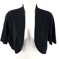 Chico's Size 1 Medium Emery Shrug Black Open Front Cardigan 3/4 Sleeve Crop Knit