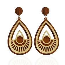 Women 1pair Wooden Earrings Ear Stud Jewelry Party Accessories Cool Gold