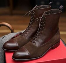 MENS NEW HANDMADE BROWN BOOTS SUEDE AND LEATHER LACES UP SHOES FOR MEN