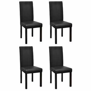 vidaXL 4x Sillas de Comedor Salon Cuero Artificial Negro Estructura de Madera