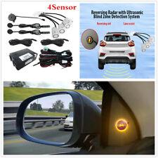 BSM Radar Detection Car Blind Spot Monitoring System Rearview Kit 4Sensor White