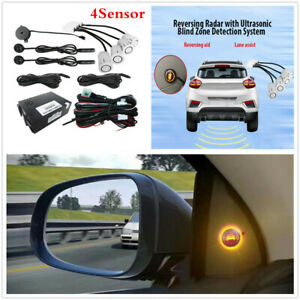 BSM Radar Detection Car Blind Spot Monitoring System Rearview Kit 4Sensor White