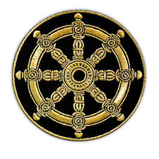 VEGASBEE® DHARMA WHEEL EMBROIDERY BUDDHIST AMULET DHARMACHAKRA IRON-ON PATCH 3""