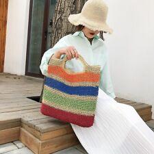 Crochet Summer Beach Bags Colorful Straw Bag  Women Travel Handmade Handbags
