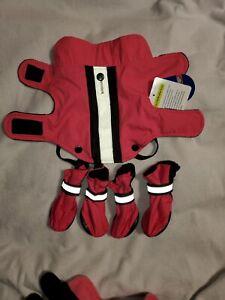 Top Paw Pink/Black Reflective 2 n 1 Coat & Fleece Sweater XS Dog NWT LOT Booties