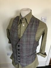 VINTAGE 70'S GREY & RED CHECK DAPPER WAISTCOAT VEST SMALL