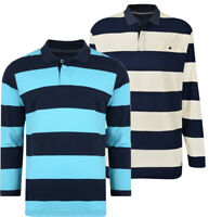 Mens KAM BIG Polo Shirt Long Sleeve Casual Rugby Pique Cotton Summer 2-8XL